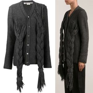 Comme Des Garçons Gray Braided Knit Cardigan XS